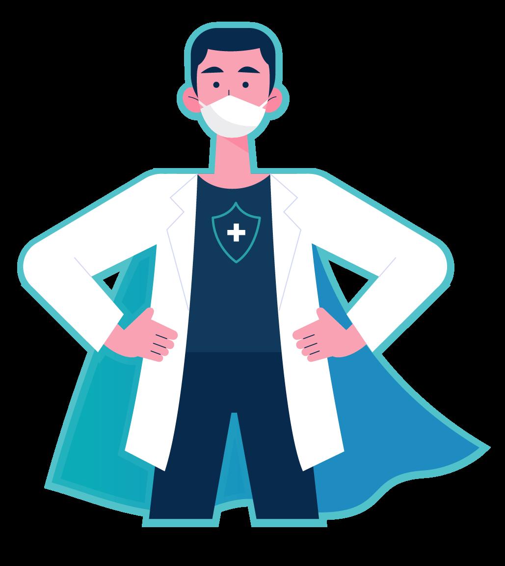 Profissional da saúde fazendo pose de herói com o texto Vista sua capa de herói ao lado